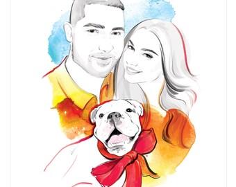 Portrait de famille personnalisé. Portrait de couple. Style de mode original dessin d'après photo. Portrait personnalisé de la photo. Cadeau de Noël. NUMÉRIQUE SEULEMENT