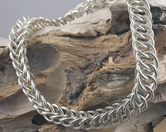 kish bracelet - heavyweight sterling silver in half-Persian 4-1 chain maille