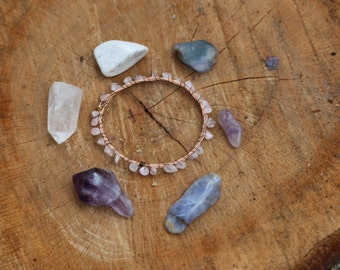 rose quartz recycled guitar string bangle FREE SHIPPING