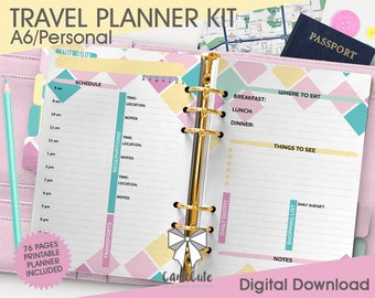 Printable TRAVEL PLANNER KIT - A6/Personal – Itinerary, Budget, Accommodation, Bookmarks/Dividers, Cover, Contacts, Notes inserts refill