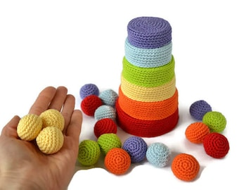 Crochet bowls and balls, Rainbow sorting and colour matching, Set of 6 Rainbow Nesting Bowls, Sorting Bowls with Balls, Colour sorting toy