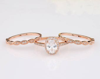 Rose Gold Oval CZ Halo Three Rings Bridal Set / Art-Deco Engagement Anniversary Women Ring / Sterling Silver Rings Set