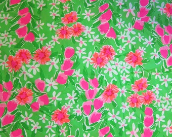 """18"""" x 19"""" Lilly Pulitzer Fabric New Green Everythig Nice"""