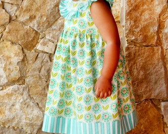 Lily Bird Studio PDF sewing pattern Alana baby dress -  newborn to 24 mths - high waist, ruffled yoke
