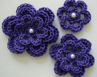 Crocheted Flowers - Violet - Cotton Flowers - Crocheted Flower Appliques - Crocheted Flower Embellishments