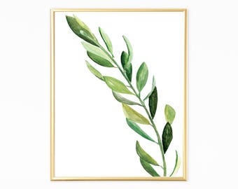 Minimalist Botanical Watercolor,Green Branch Art,Green Leaves Art Print,Botanical Home Decor,Printable Nature Art,Simple Nature Art