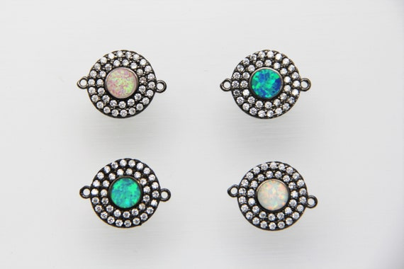Synthetic Opal With CZ Micro Pave 14mm Coin Connector