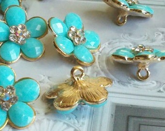 10  Pieces Turquoise Flower Gold Metal  Buttons  with Rhinestone, 23 mm Bridal Embellishment.