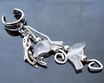 Dolphins Breaching the Ocean Waves sterling silver ear cuff with pink rose quartz OOAK jewelry