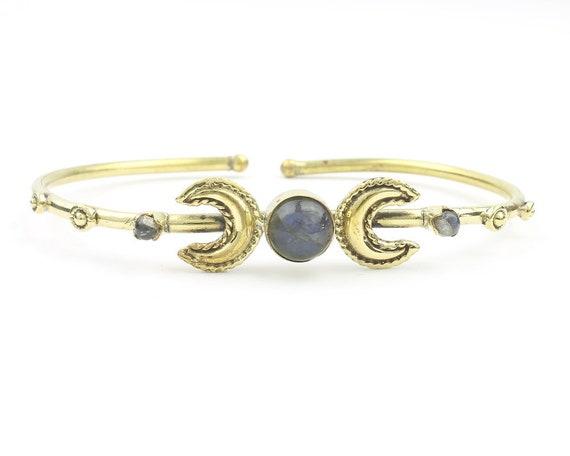 Triple Goddess Bracelet, Labradorite Moon Bracelet, Stone Bangle, Boho, Bohemian, Gypsy, Festival Jewelry, Minimal