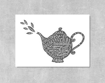 Tea Print Gift For Tea Lover Varieties Of Tea Wall Art Kitchen Decor Tea Art Teapot Print Kitchen Art Teapot Illustration Typography Print