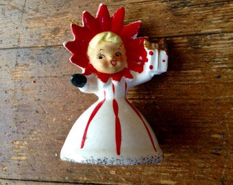 1950's Holt Howard Poinsettia Girl, Bone China Christmas Figure and Bell Ornament. Made in Japan. Holt Howard Ceramics