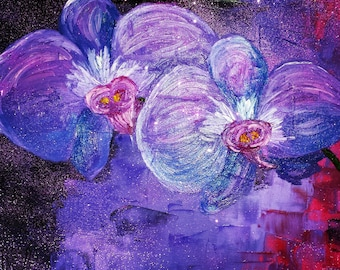 Stunning impressionist purple phaleonopsis orchid with abstract purple background