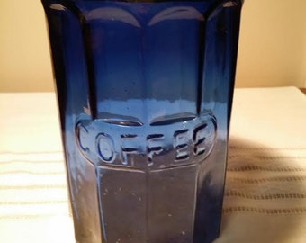 coffee jar cobalt blue glass