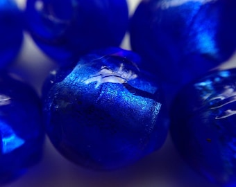 beads 10mm 10pc royal blue murano glass lampwork 1 silver foil
