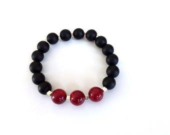 Black onyx bracelet  Coral bracelet Matte black jewelry  Gemstone elastic bracelet Mothers day gift  Silver bracelet Red bracelet Women gift