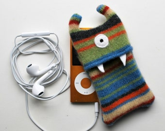 Multi Colored Stripey Monster iPod Nano or Shuffle Cozy - Upcycled - Wallet - Electronics Case - Teen Tween Gift - Stocking Stuffer