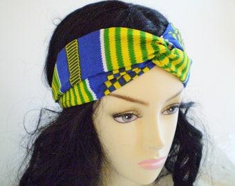 Blue Yellow Green African Twist Headband, Blue Green African Headband, African Turban Headband, African Twist Headband