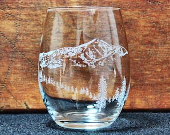 Mt. Elbert Hand-Engraved Stemless Wine Glass