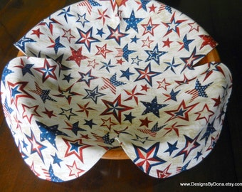 Basket Liner, Table Topper, Centerpiece, Bread Cloth, Patriotic Red, White and Blue Stars, Sewing-Quilting-Crafting Supplies