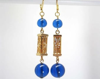 Bright blue glass, gold lanterns - colored Collection earrings