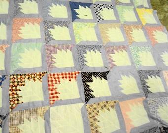 "Vintage quilt top, unfinished quilt top, Vintage 1930- 1940's quilt top hand stitched size 80"" L x 62""W unfinished"