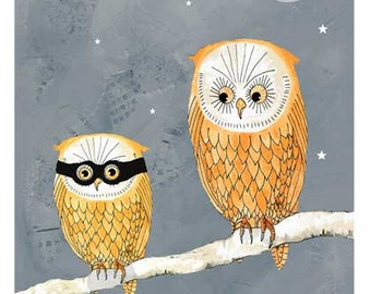 owl print, Boys print, Halloween owls, nursery art, Illustration Print, giclee print, mixed media