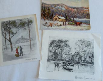 Lionel Barrymore Lost Sketch Christmas Card Plus Grinnel Artists Renderings in Vintage Christmas Lot No 1168 total of 3