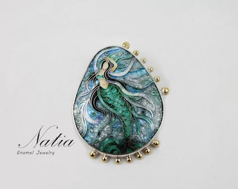 Mermaid,Cloisonne enamel,Brooch-pendant,Handmade jewelry for women,Gifts for women,Gifts for mom,Sterling silver
