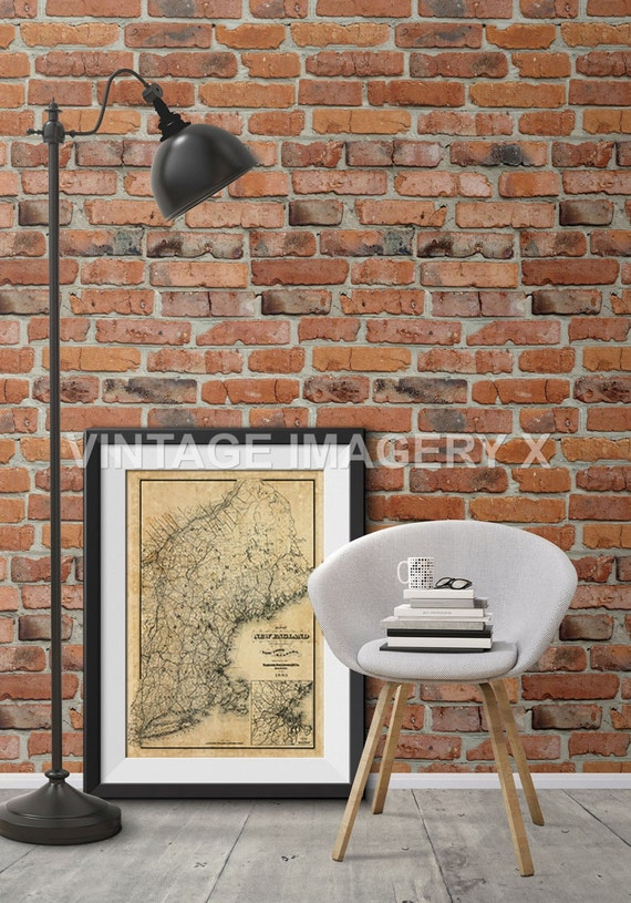 Old Map of New England 1885 vintage New England map Restoration Decorator Style Historic New England Wall Map Home Decor Fine Wall Art Print