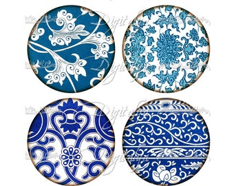 ASIAN BLUE PORCELAIN  (9) Digital Collage Sheet - Chinese Floral Art in blue tones - Circles 63mm Pocket Mirror - Instant Download