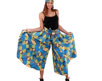 Africa Tradional  African Print Palazzo Pants: Light Blue