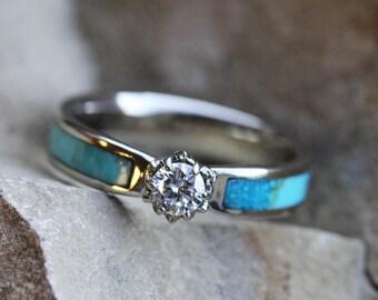 Forever Brilliant Moissanite Engagement Ring, 10k White Gold Flower Ring, Turquoise Wedding Ring