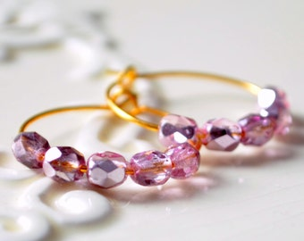 Orchid Pink Earrings, Gold Plated Hoops, Czech Glass Beads, Small and Lightweight, Beaded Jewelry