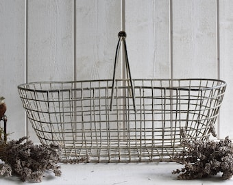 Antique French oyster shell Basket  wire basket garden Nordic French living