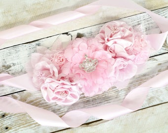 Flower Baby Shower Mom to Be Sash - Maternity Sash Pregnancy Sash - Pink Baby Shower Sash for Mom - It's a Girl Pink Baby Shower Sash