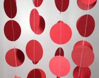 5 Shades of Red 12 ft Circle Paper Garland- Party Decorations, Wedding, Birthday, Baby Shower, Bridal Shower