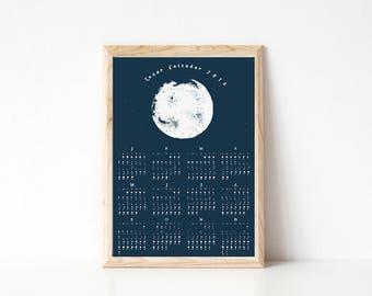 SALE 50% - 2018 Moon Phase Calendar, Lunar Calendar, Moon Phase Calendar, Landscape Calendar, Space Calendar