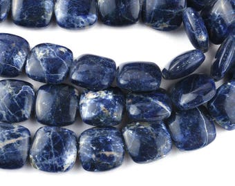 10 Inch 14mm Natural Sodalite Smooth Cushion Shape Beads Strand-Cushion Beads 18 Beads(7815)