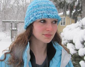 Knit Hat Adult Teen Blue Variegated Stockinette Stitch Rolled Brim