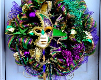 HUGE - Limited - Mardi Gras Deco Mesh Wreath - Mardi Gras Wreath - Deco Mesh Wreath - Door Hanging - Mesh Wreath - Mardi Gras Decoration