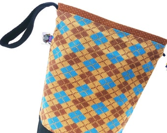 Small Knitting Project Bag Crochet Drawstring Tote WIP Bag - The Dad Bag