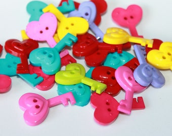 Key shape buttons, large key buttons, 25 mm, wedding card flatbacks, fun shape buttons, buttons for arts and crafts