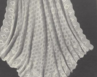 Vintage knitting pattern, diamonds baby shawl