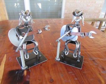 Neil Young Metal Art Figurine-Crosby Stills & Nash-Buffalo Springfield-Crazy Horse-Welded Art-Scrap Metal-Railroad Spikes-Guitar-Music