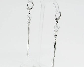 Long earrings - Swarovski Crystal - JET - SET