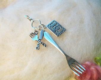 Zipper Charm Chef Cook Book Fork Zipper Pull Zipper Gripper Backpack Purse Sleeping Bag Lunch Bag  Stocking Stuffer, Antique Silver Charms