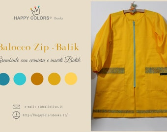 """Apron """"Balocco ZIP-Batik"""" cotton-kindergarten painting and other activities-Waldorf-Montessori-for children and adults"""