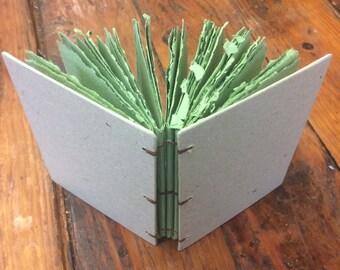 Green journal, handmade paper journal, sketch book, travel journal, guest book, recycled guestbook, diary, wedding book