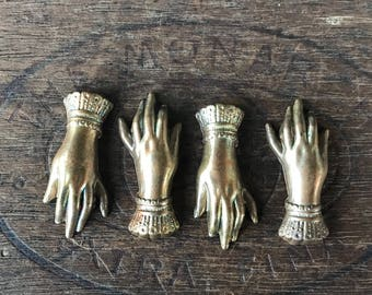 Vintage French Brass Stamping/Antique Style/Victorian Hand/Ladies Hand/Hand Jewelry/French Findings